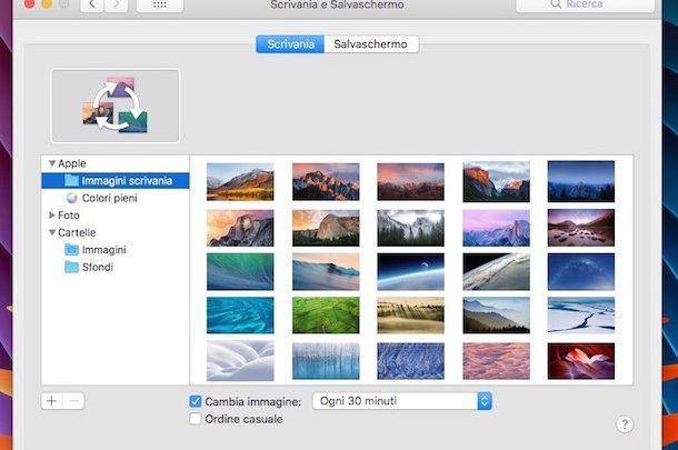 come cambiare immagini sfondo