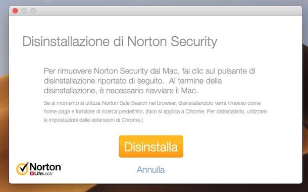 programma norton antivirus disinstallare