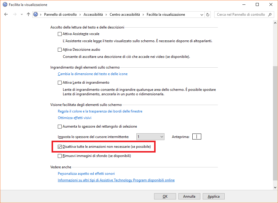 velocizzare windows 10 disattivare effetti visivi