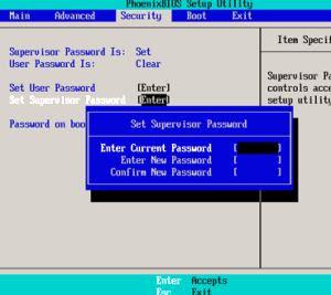 cancellare password bios windows-enter