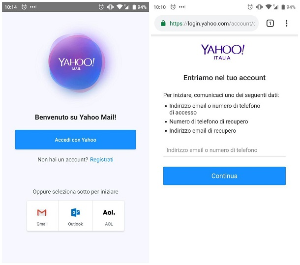 recuperare reimpostare password yahoo
