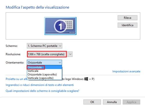 girare lo schermo di windows 10 da impostazione