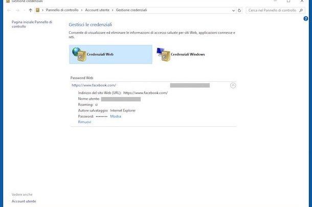 memorizzare password in internet explorer