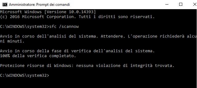 ripristinare menu star windows 10 con file sistema