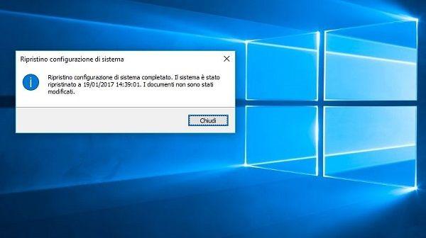 ripristinare menu star windows 10 con ripristino sistema