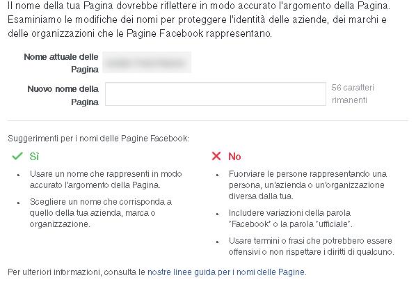 modifica nome pagina facebook
